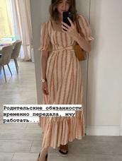 dress,cream,orange,boho dress