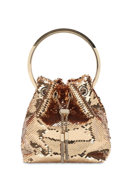 JIMMY CHOO Bon Bon Sequined Bucket Bag in gold / rose