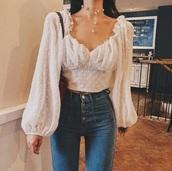 blouse,puff sleeve,cream,white,mesh,polka dots