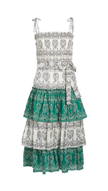 Tory Burch Printed Ruffle Dress in green / ivory