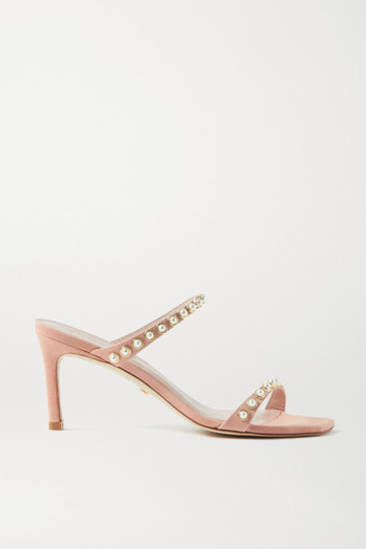 Stuart Weitzman - Aleena Faux Pearl-embellished Suede Mules - Blush