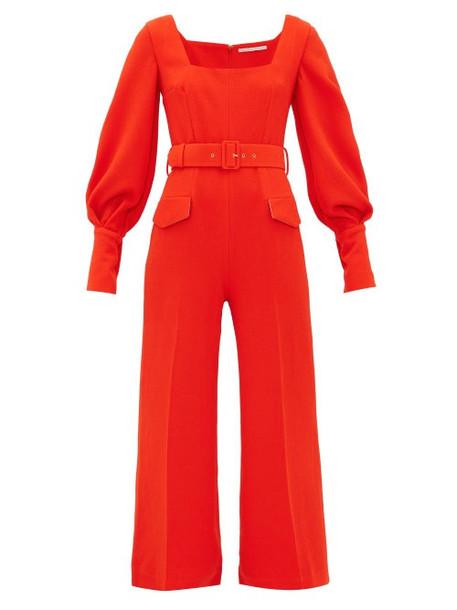 Emilia Wickstead - Patrice Pebbled-crepe Jumpsuit - Womens - Dark Orange