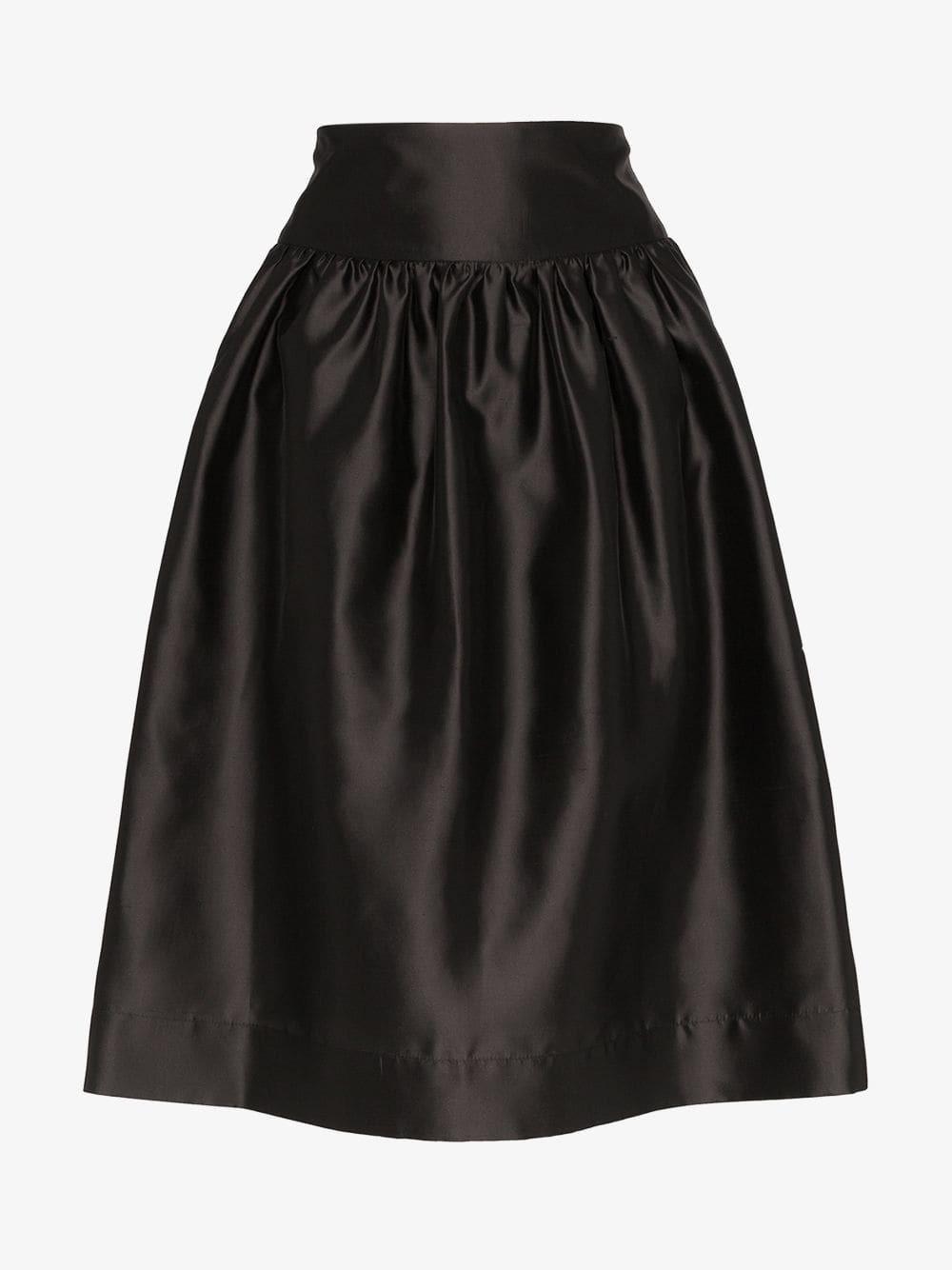 Deitas Shima silk knee-length voluminous skirt in black