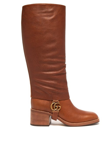 Gucci - Lola Gg Plaque Gaiter Leather Boots - Womens - Tan