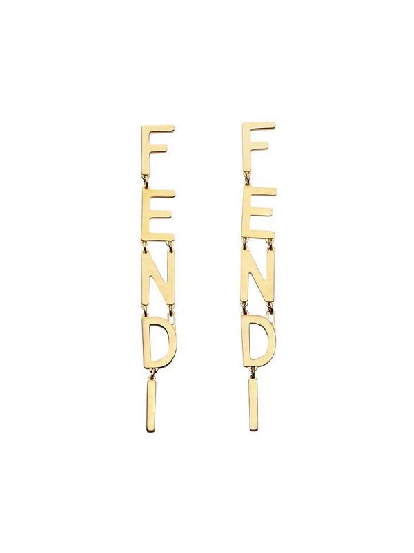 Fendi lettering logo pendant earrings in gold