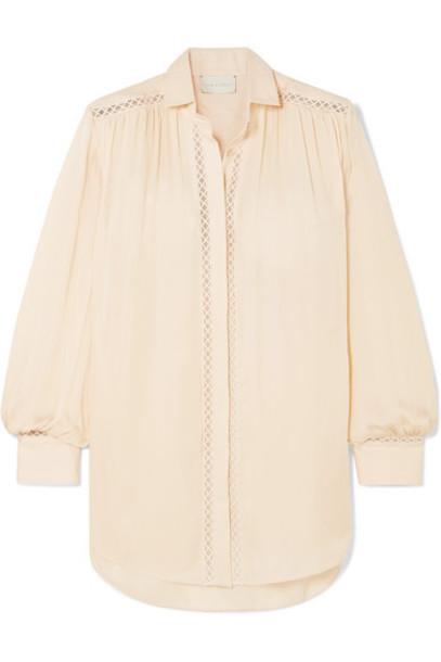 ARJÉ ARJÉ - Celia Crochet-trimmed Georgette And Linen Shirt - Beige