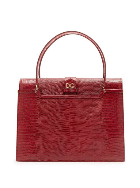 Dolce & Gabbana - Ingrid Medium Lizard Effect Leather Bag - Womens - Burgundy