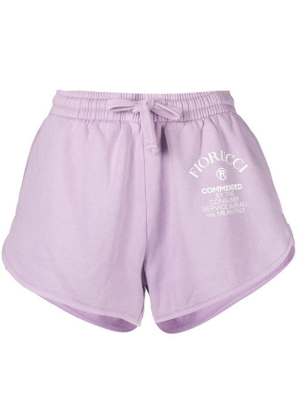 Fiorucci logo-print track shorts in pink