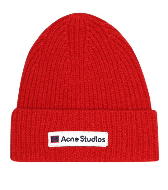 Acne Studios Face wool beanie in red