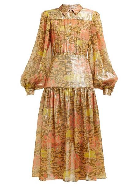 Peter Pilotto - Abstract Print Silk Blend Lamé Chiffon Midi Dress - Womens - Yellow Multi