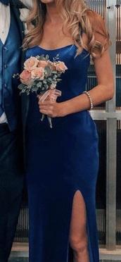 dress,velvet,dark blue,long dress,prom dress