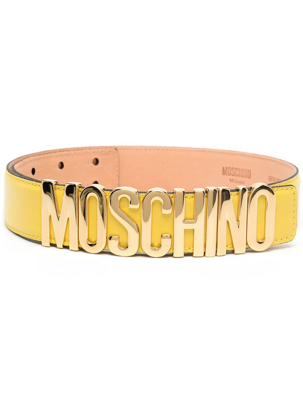 Moschino logo-plaque adjustable belt in yellow