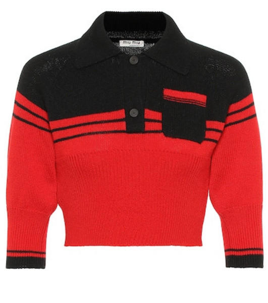 Miu Miu Cropped cashmere sweater in red