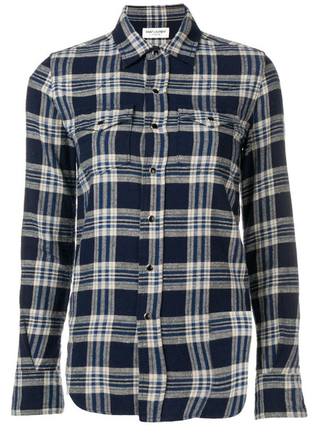 Saint Laurent plaid chest pocket shirt in blue