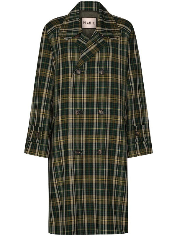 Plan C double-breasted tartan coat in green