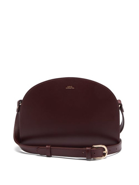 A.P.C. A.p.c. - Half Moon Leather Cross Body Bag - Womens - Burgundy