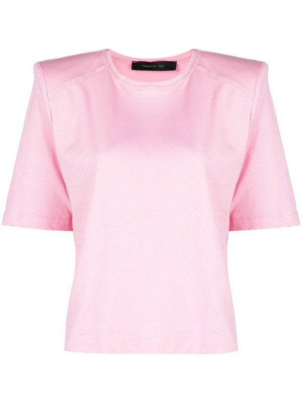 Federica Tosi shoulder-pads cotton T-Shirt in pink