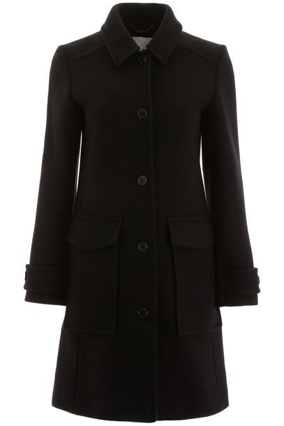 Kenzo Wool Blend Coat in noir / blue