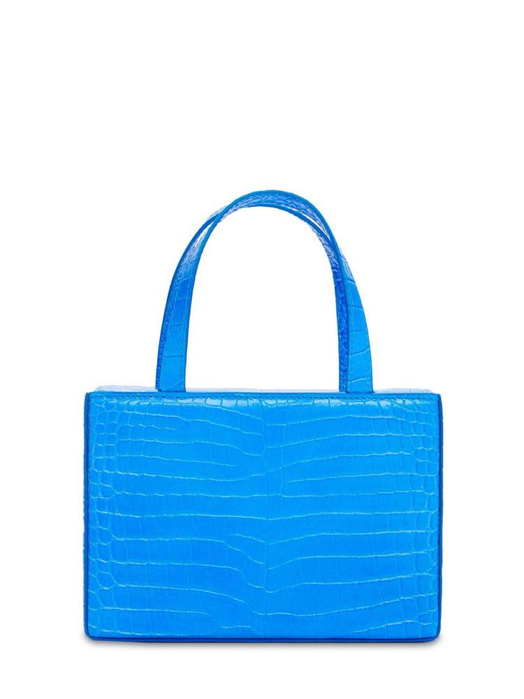 AMINA MUADDI Amini Giorgia Embossed Top Handle Bag in blue