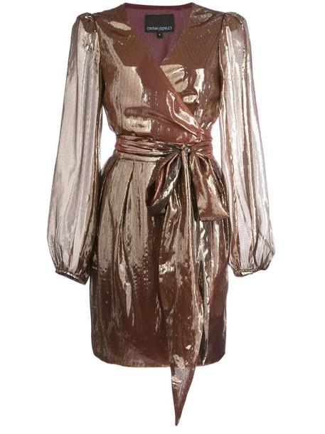 Cynthia Rowley Rocky lame wrap dress in gold