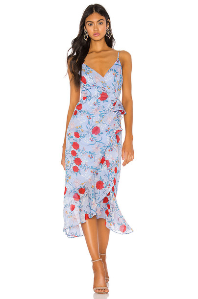 Bardot Ruched Midi Dress in blue
