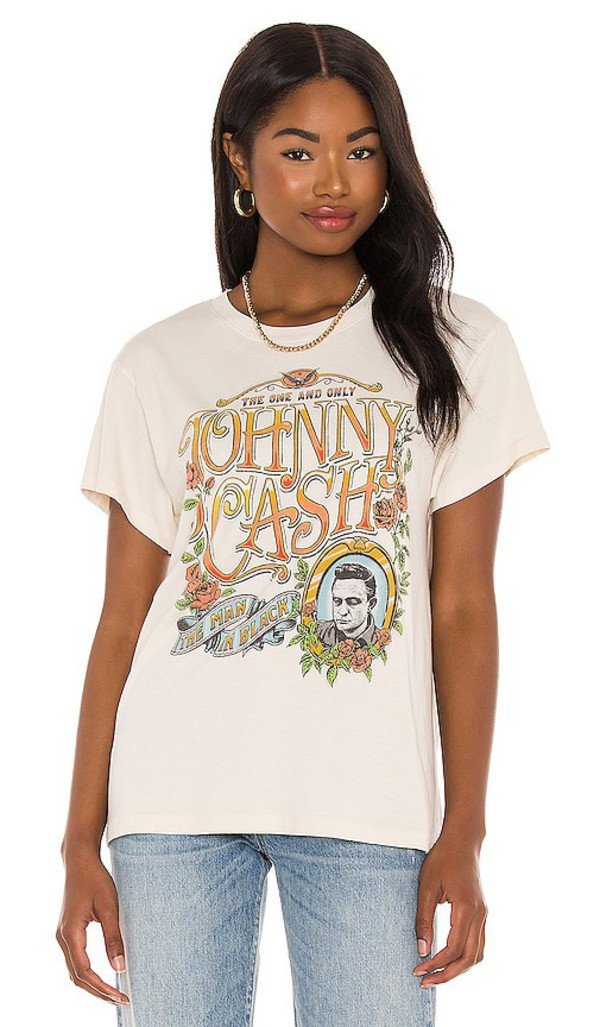 DAYDREAMER Johnny Cash The One And Only Tour Tee in Cream in white
