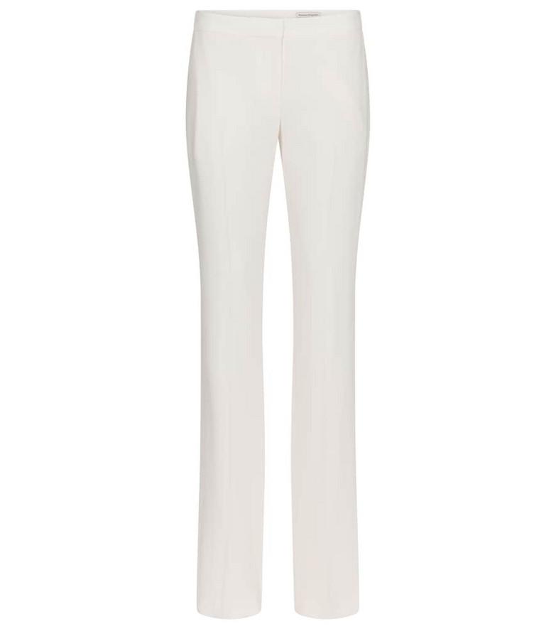 Alexander McQueen High-rise crêpe slim pants in white