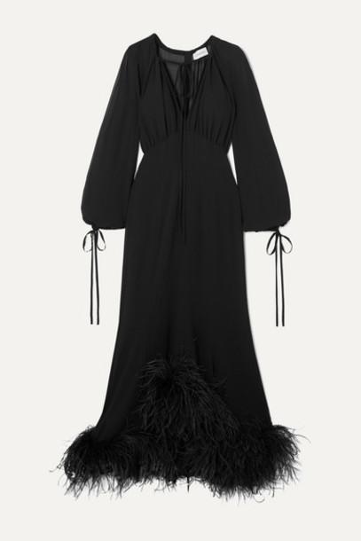 16ARLINGTON - Davis Tie-neck Feather-trimmed Chiffon Gown - Black
