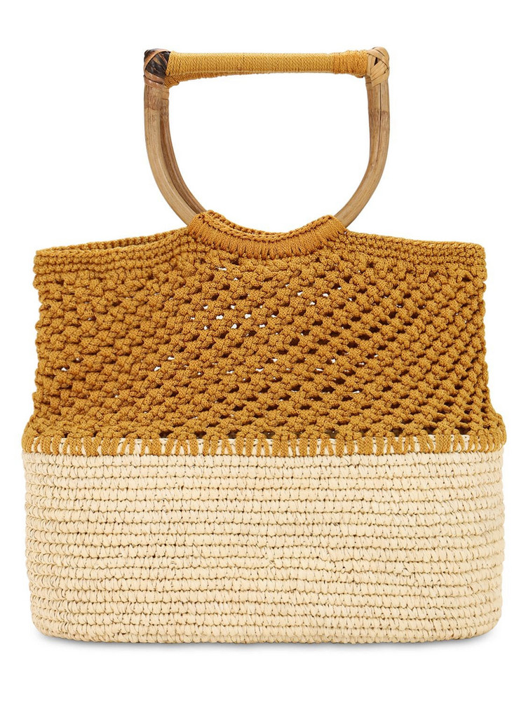 SENSI STUDIO Bicolor Macramé & Straw Tote in natural / beige