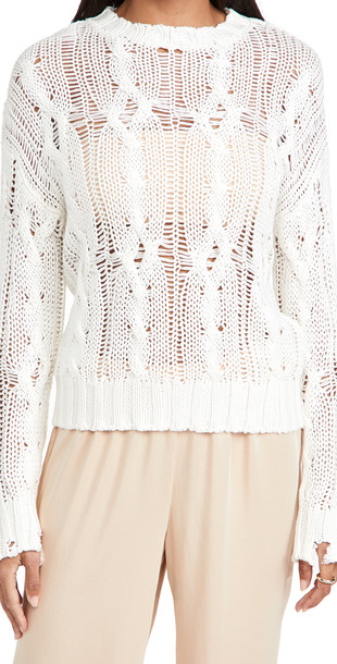 Sablyn Braided Pullover Sweater in white