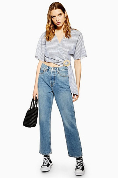 Topshop Mid Blue Dad Jeans - Mid Stone