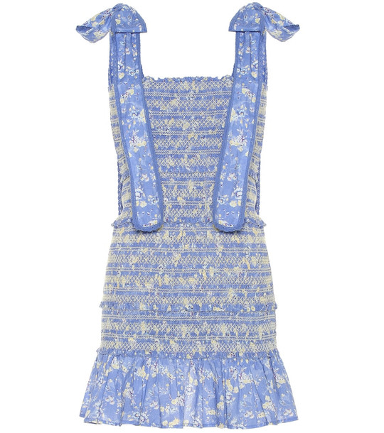 LoveShackFancy Belle smocked cotton minidress in blue