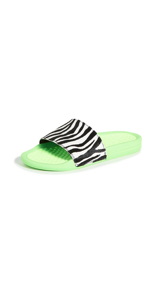 APL: Athletic Propulsion Labs Iconic Calf Hair Slides in green