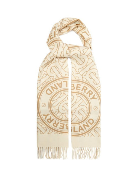 Burberry - Logo And Check Print Cashmere Scarf - Womens - White Multi