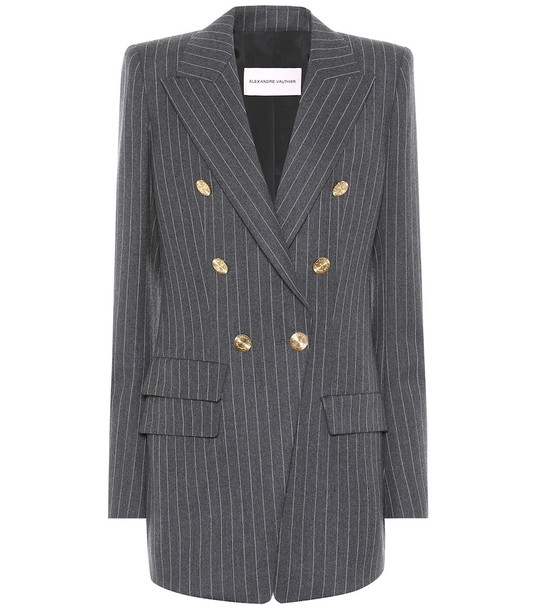 Alexandre Vauthier Pinstripe stretch-wool blazer in grey