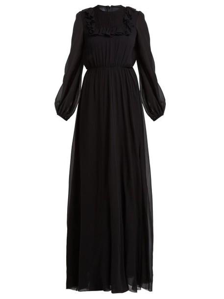 Giambattista Valli - Ruffle Trimmed Smocked Silk Crepe De Chine Gown - Womens - Black