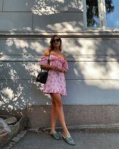 dress,mini dress,floral dress,off the shoulder,mules,black bag