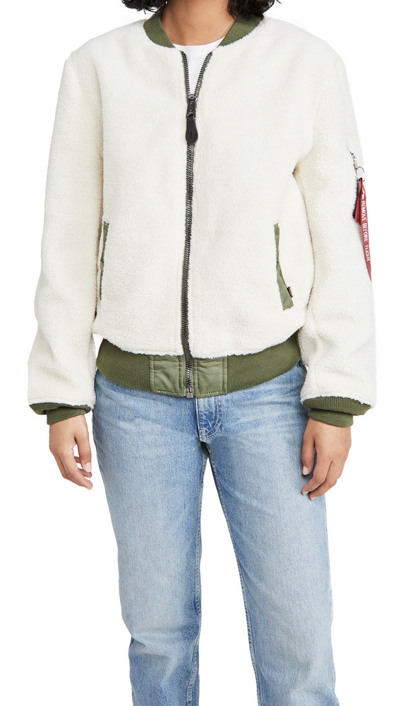 Alpha Industries L-2B Sherpa Flight Jacket in cream