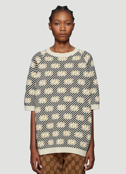Gucci GG Logo Stripe Jacquard Top in Beige size XS