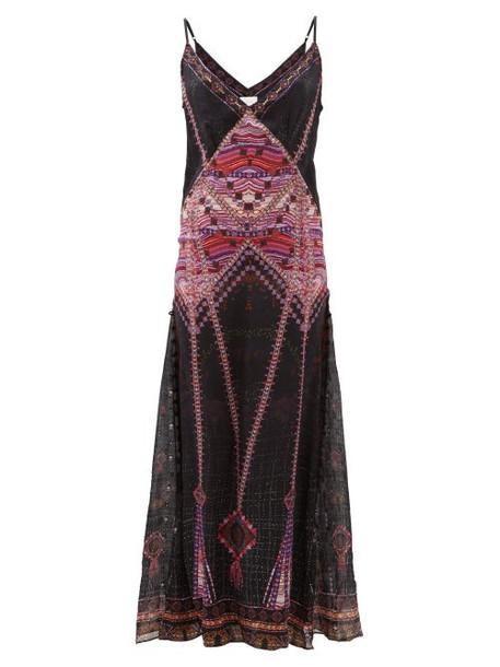 Camilla - Mina Mina Printed Silk Maxi Dress - Womens - Black Multi