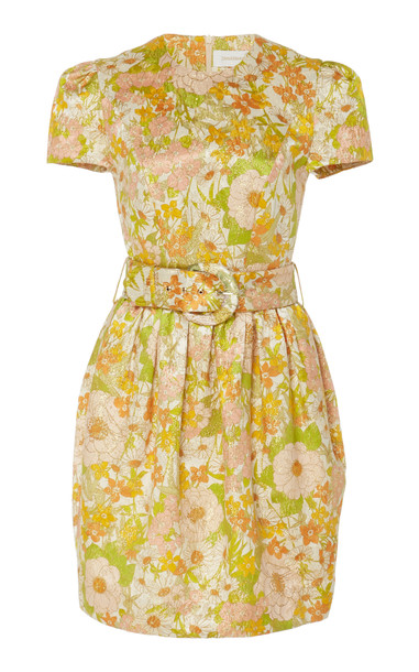 Zimmermann Belted Floral-Print Cotton And Silk-Blend Dress in multi
