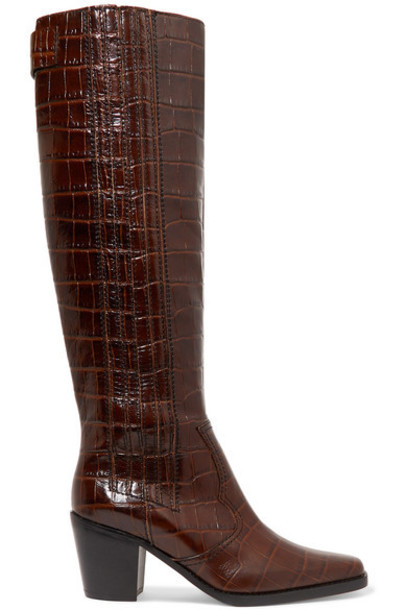 GANNI - Western Croc-effect Leather Knee Boots - Brown