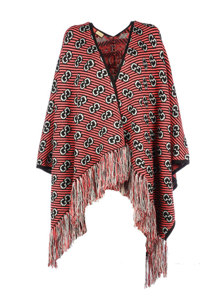 Gucci Wool Poncho Baby 150x135 in black / pink