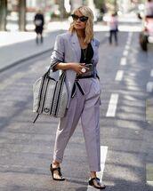 bag,black and white,black sandals,suit,blazer,high waisted pants,black top