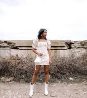 dress,white dress,floral dress,short sleeve dress,white bag,white boots,cowboy boots