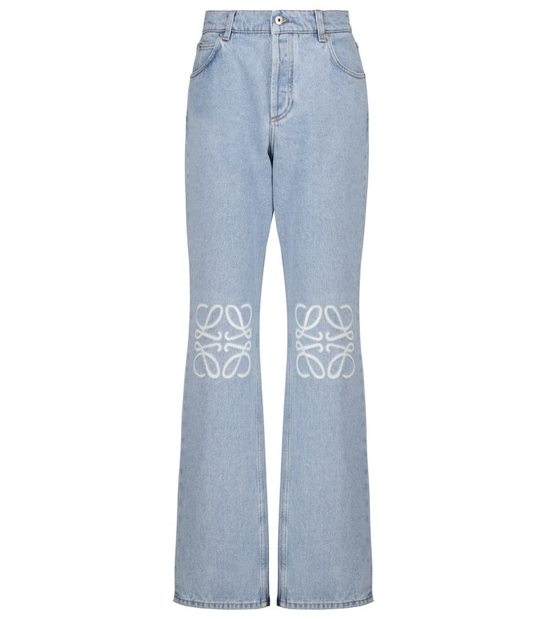 LOEWE Anagram high-rise wide-leg jeans in blue