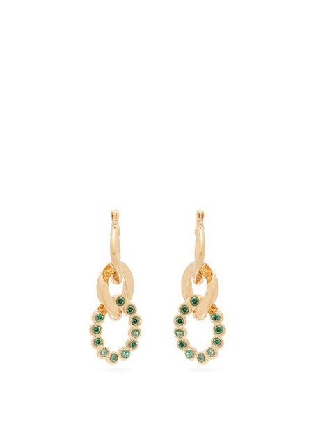 Hillier Bartley - Crystal Curb Link Earrings - Womens - Green
