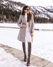 coat,plaid coat,long coat,over the knee boots,heel boots,suede boots,turtleneck dress,white dress,knitted dress