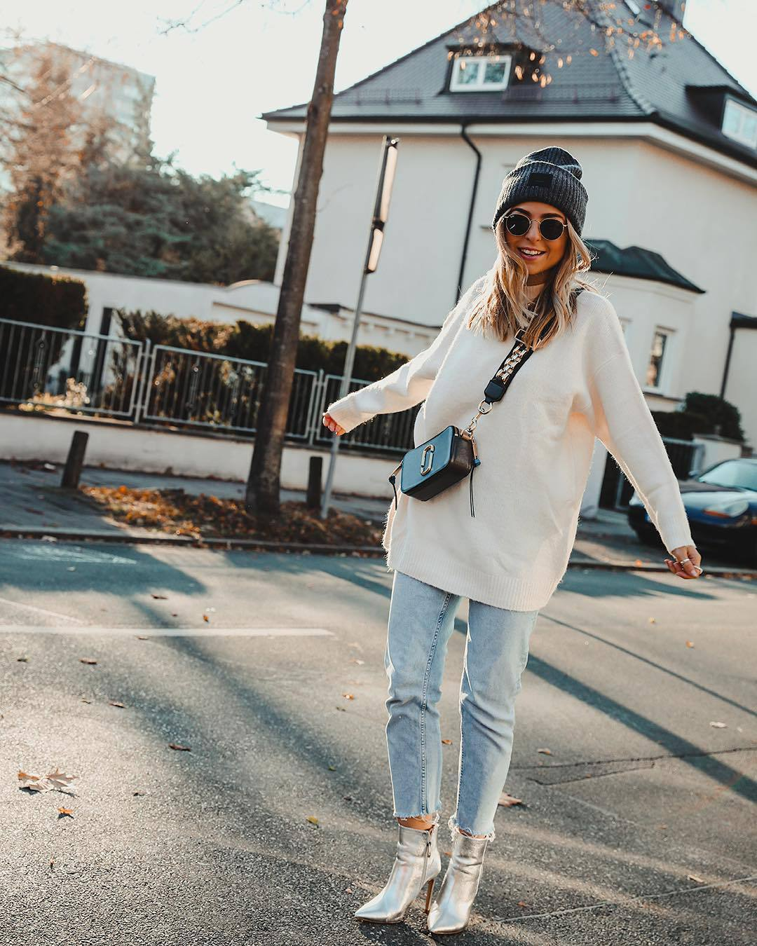 hat beanie acne studios ankle boots heel boots cropped jeans straight jeans oversized sweater white sweater black bag crossbody bag