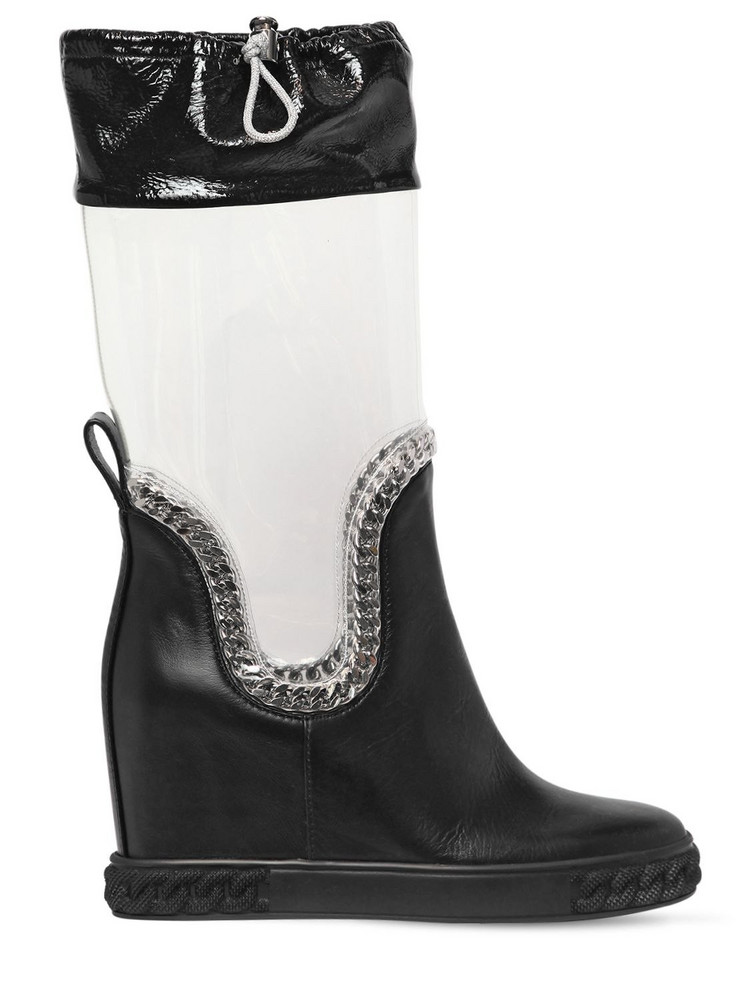 CASADEI 80mm Plexi & Leather Wedge Boots in black